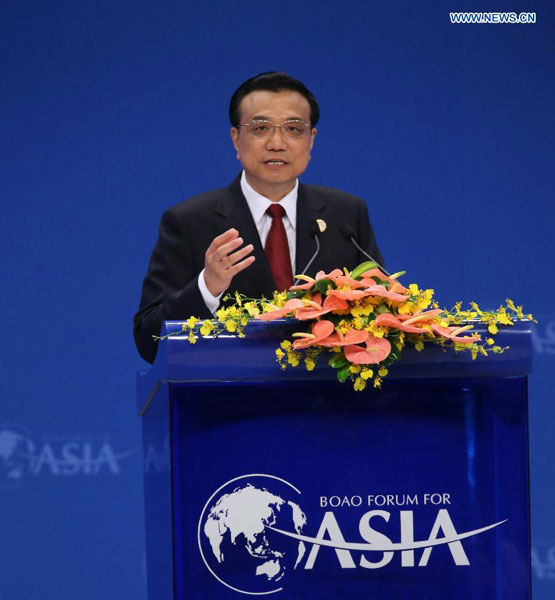 Chinese Premier Li Keqiang delivers a keynote speech at the opening of the Boao Forum for Asia (BFA) Annual Conference 2014 in Boao, south China