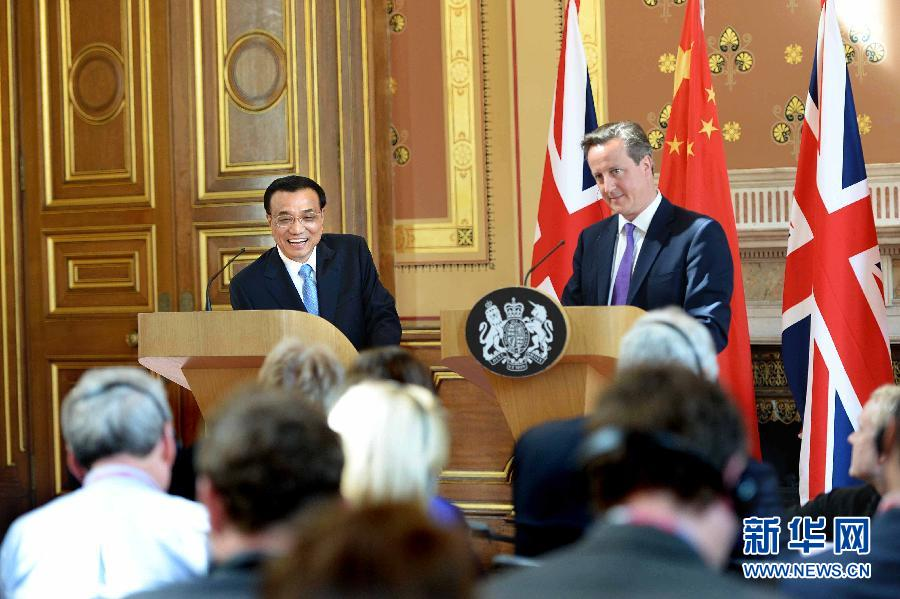 At a joint press conference in London, Premier Li and British Prime Minister David Cameron announced plans for more trade cooperation.