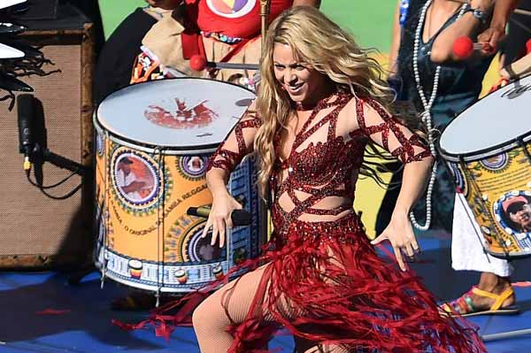 Colombian pop singer Shakira appearances at the closing ceremony.