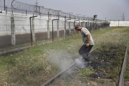 A prisoner tramples smoldering grass in a high-security facility after shelling in Donetsk, eastern Ukraine, Monday, Aug. 11, 2014.