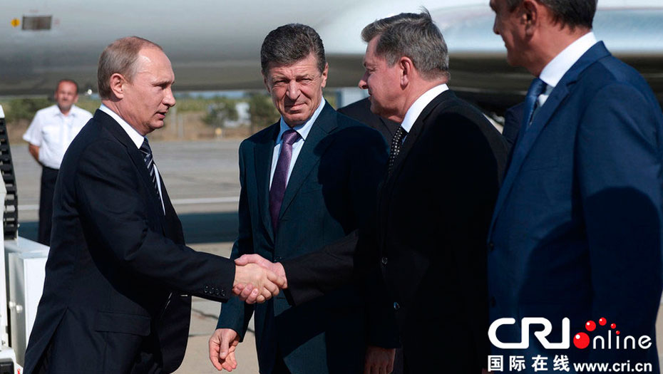 Russian President Vladimir Putin is now in Crimea for a two-day inspection.