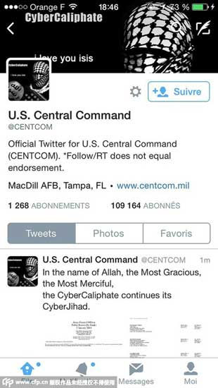 This January 12, 2015 Twitter handout image shows US Central Command