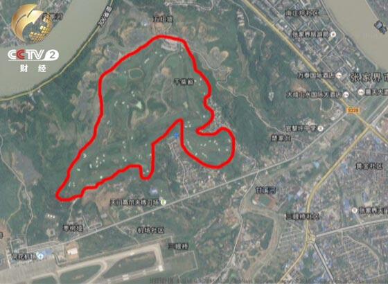 张家界高尔夫球场的卫星地图图片
