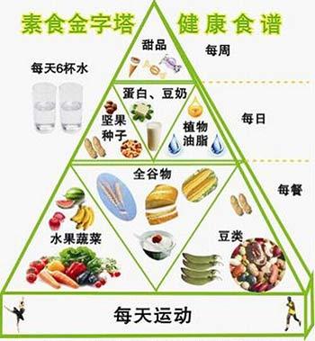 """康内尔大学的金保教授公布的""""金字塔式素食食谱""""(图片来源:资料图片)"""