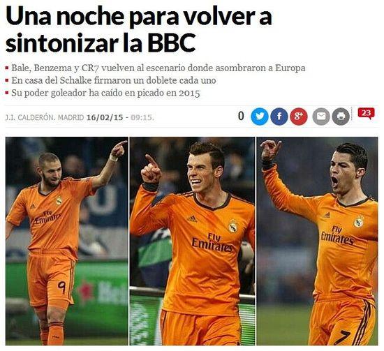 《马卡报》:BBC组合需要在欧冠为自身正名