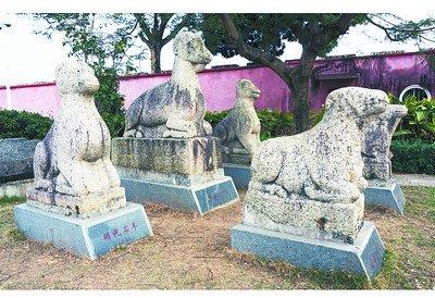 同安孔庙陈列的古代石羊。