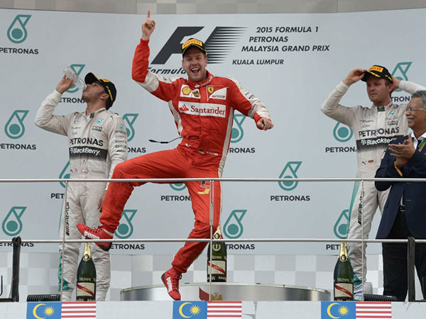 the first Formula One win for the Italian team since 2013.