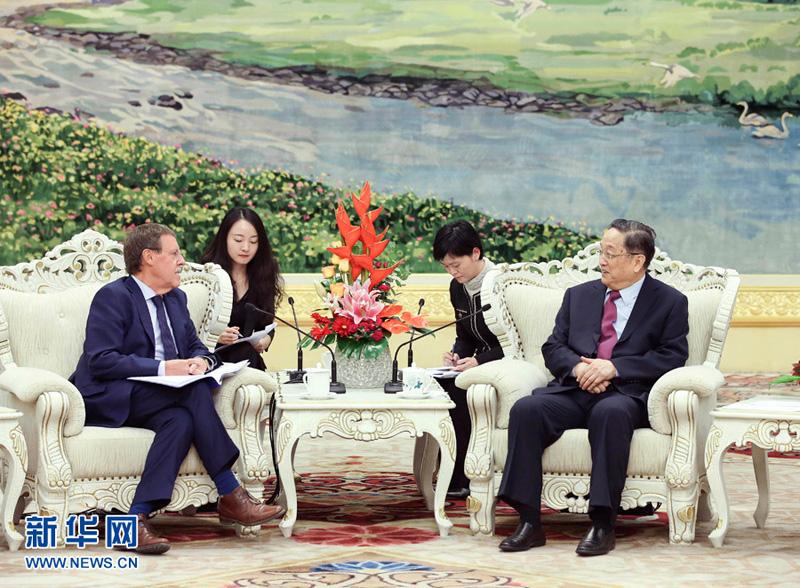 12月5日,全国政协主席俞正声在北京会见比利时联邦众议长布拉克。