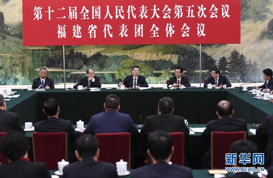 3月10日,中共中央政治局常委、国务院副总理张高丽参加十二届全国人大五次会议福建代表团的审议。