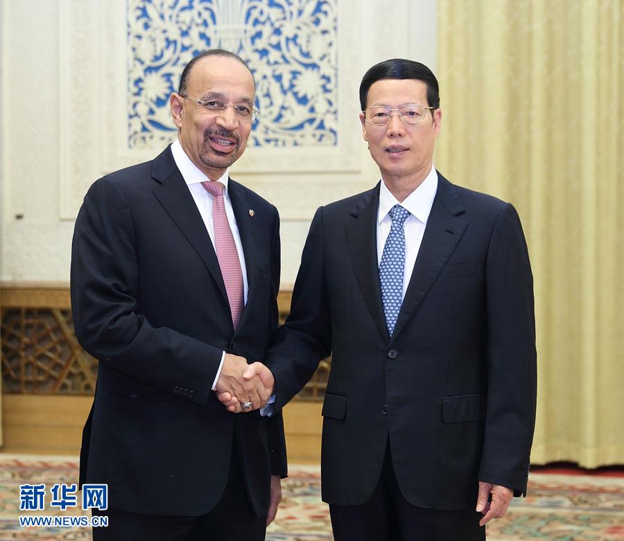 8月18日,中共中央政治局常委、国务院副总理张高丽在北京人民大会堂会见沙特王储穆罕默德特使,能源、工业和矿产大臣法利赫。
