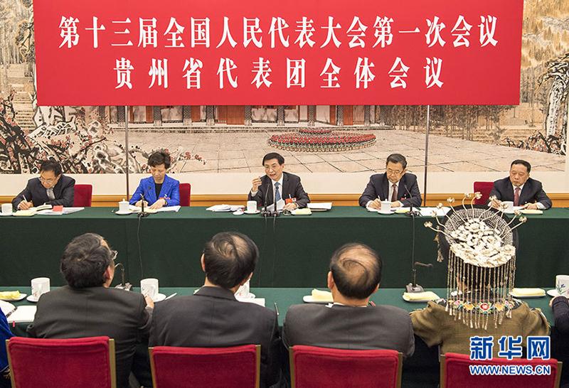 3月7日,中共中央政治局常委、中央书记处书记王沪宁参加十三届全国人大一次会议贵州代表团的审议。