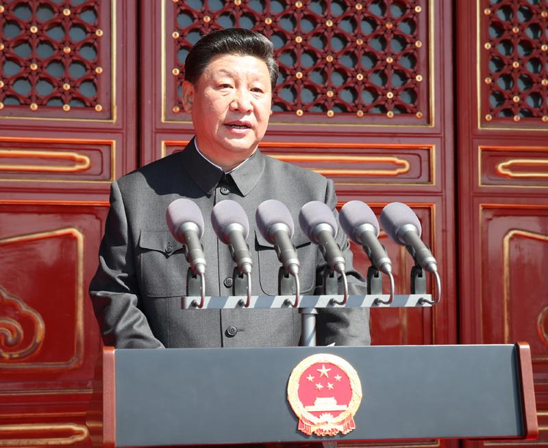 2018-10-19,纪念中国人民抗日战争暨世界反法西斯战争胜利70周年大会在北京天安门广场隆重举行。这是习近平在大会上发表重要讲话。