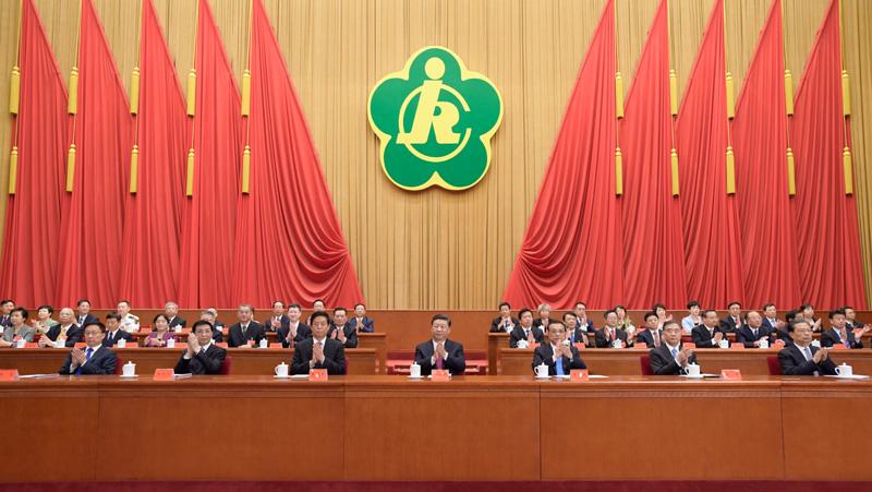 9月14日,中国残疾人联合会第七次全国代表大会在北京人民大会堂开幕。习近平、李克强、栗战书、汪洋、王沪宁、赵乐际、韩正等在主席台就座,祝贺大会召开。新华社记者 李学仁 摄