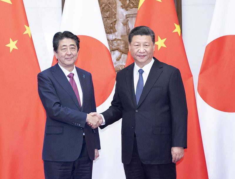10月26日,国家主席习近平在北京钓鱼台国宾馆会见来华进行正式访问的日本首相安倍晋三。