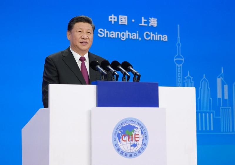 11月5日,首届中国国际进口博览会在上海开幕。国家主席习近平出席开幕式并发表题为《共建创新包容的开放型世界经济》的主旨演讲。新华社记者 李学仁 摄