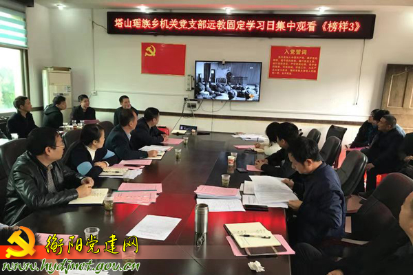 常宁市塔山瑶族乡机关党支部党员收看《榜样3》