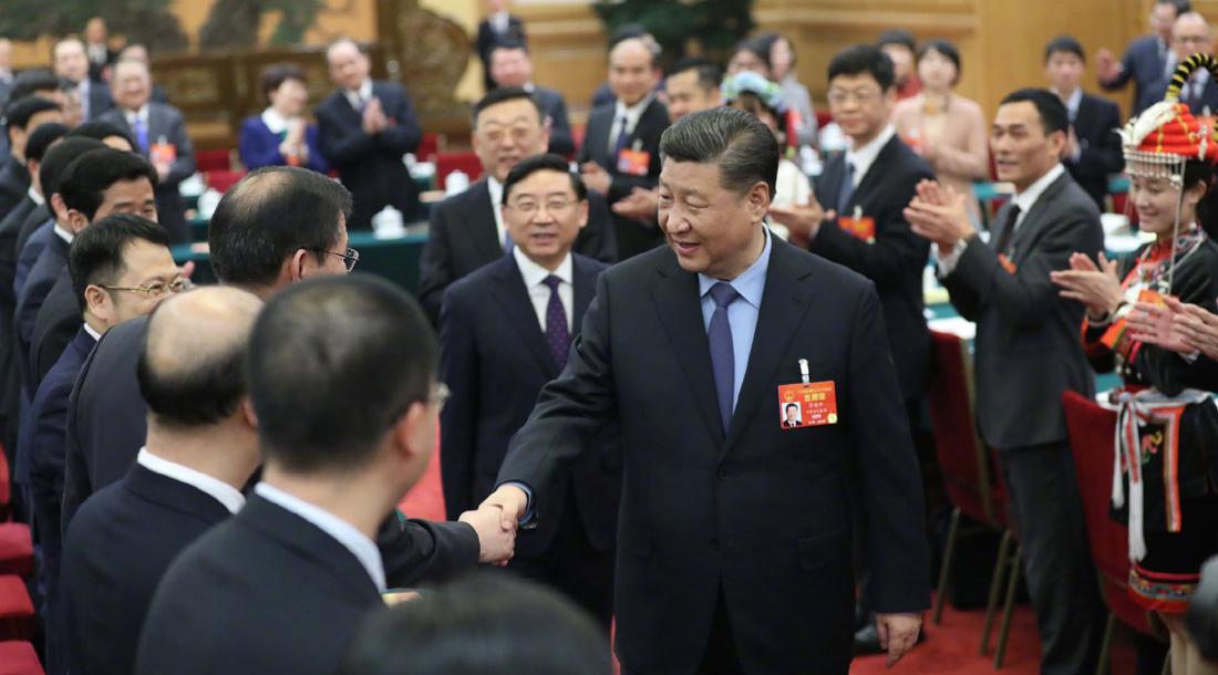 3月10日,中共中央总书记、国家主席、中央军委主席习近平参加十三届全国人大二次会议福建代表团的审议。
