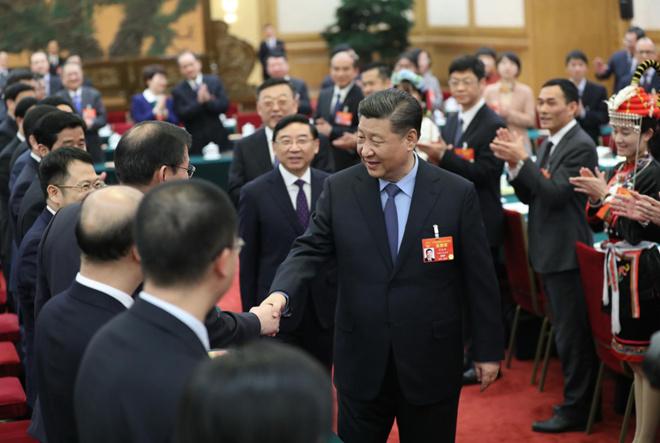 2019年3月10日下午,习近平参加十三届全国人大二次会议福建代表团的审议。