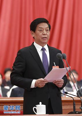 3月15日,第十三届全国人民代表大会第二次会议在北京人民大会堂举行闭幕会。大会主席团常务主席、执行主席栗战书主持并讲话。 新华社记者 庞兴雷 摄