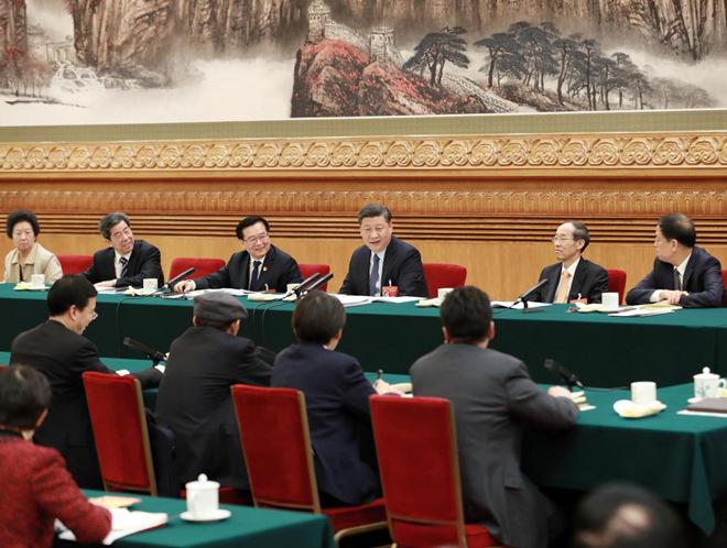 2019年3月8日,習近平參加十三屆全國人大二次會議河南代表團的審議。