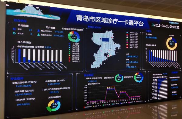 青岛市区域诊疗一卡通服务平台。 邹杨 摄