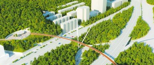 厦门健康步道跨仙岳路节点桥梁(狐尾山-仙岳山),采用倾斜式V塔单跨单索面悬索桥,长约230米