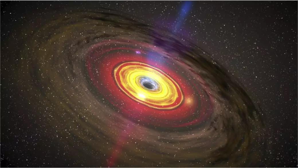 类星体中心超大质量黑洞及吸积盘、喷流示意图
