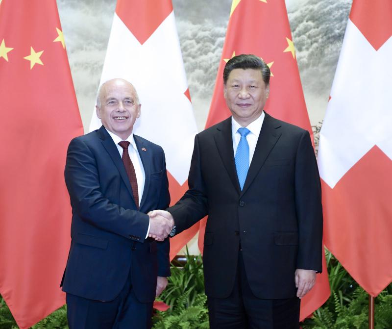 4月29日,国家主席习近平在北京人民大会堂同瑞士联邦主席毛雷尔举行会谈。