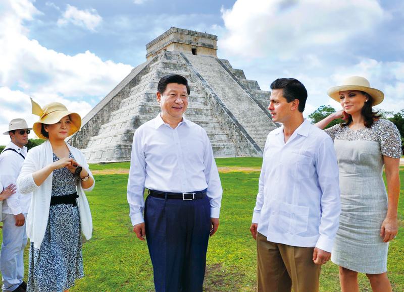 2013年6月6日,为推进中墨两个文明古国的文化交流,国家主席习近平应培尼亚总统邀请参观奇琴伊察玛雅文明遗址。