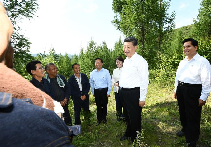 """7月15日至16日,中共中央总书记、国家主席、中央军委主席习近平在内蒙古考察并指导开展""""不忘初心、牢记使命""""主题教育。这是15日下午,习近平在赤峰市喀喇沁旗马鞍山林场同正在劳作的护林员们交流,了解他们的工作、生活、家庭情况。"""