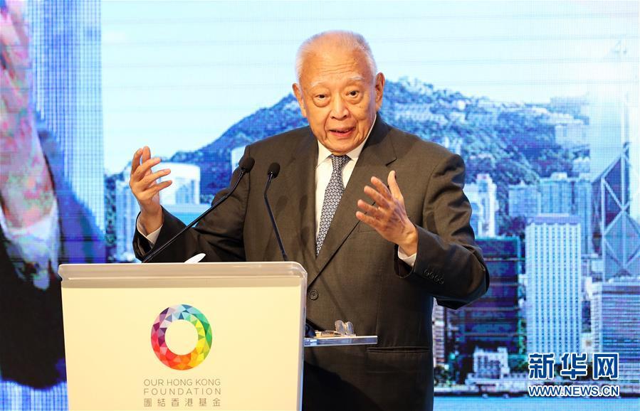 7月31日,董建华在香港出席团结香港基金午餐会。新华社记者 李钢 摄