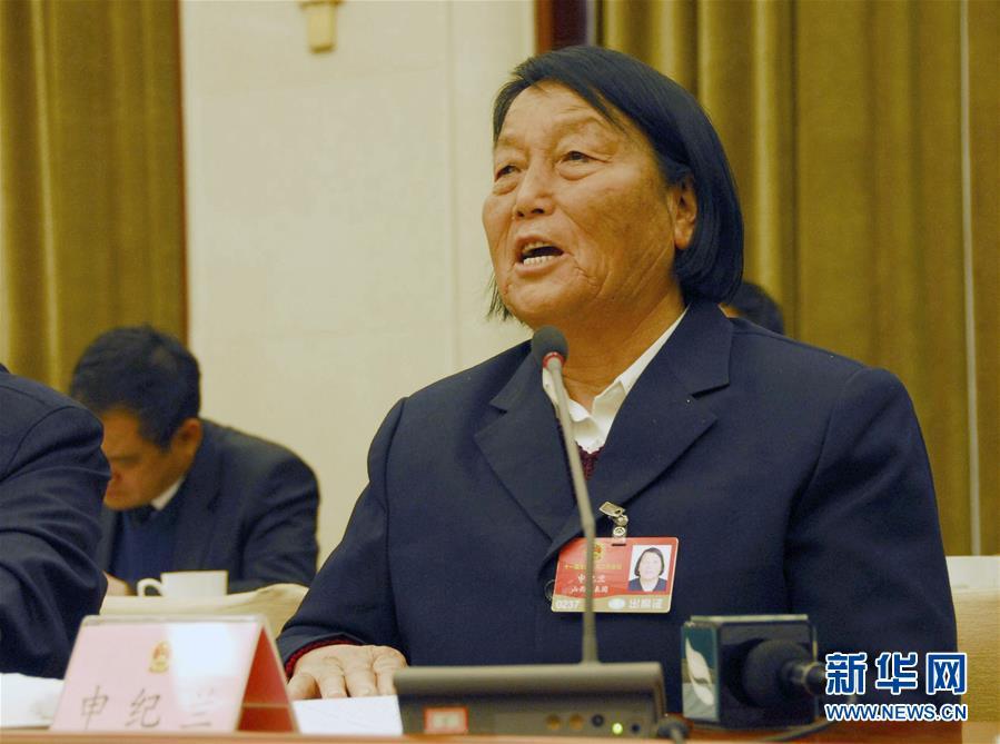 全国人大代表申纪兰在审议政府工作报告时发言(2009年3月5日摄)。新华社记者 邹伟 摄