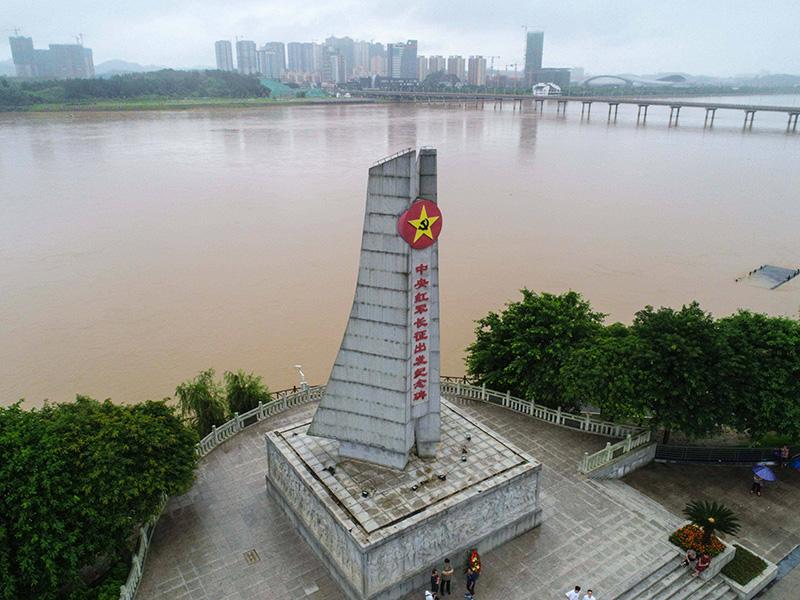 这是2019年6月12日在江西省于都县拍摄的中央红军长征出发纪念碑(无人机照片)。新华社记者 周密 摄