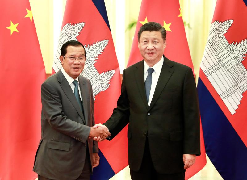 2月5日,国家主席习近平在北京人民大会堂会见柬埔寨首相洪森。