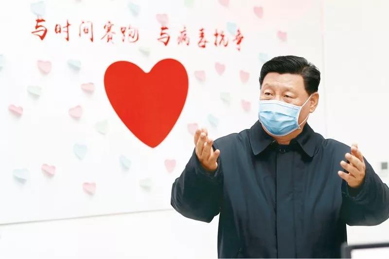 2020年2月10日,中共中央总书记、国家主席、中央军委主席习近平在北京调研指导新冠肺炎疫情防控工作。这是习近平在朝阳区疾病预防控制中心调研。新华社记者 刘彬/摄