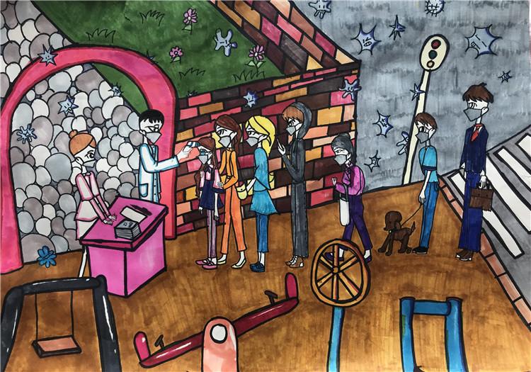 《從我做起 抗擊疫情》 王露臻 11歲  兒童畫