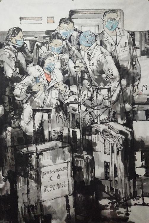 《馳援》唐禮軍 中國畫