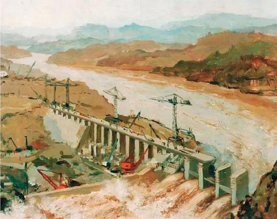 吳作人-黃河三門峽大壩(之二)