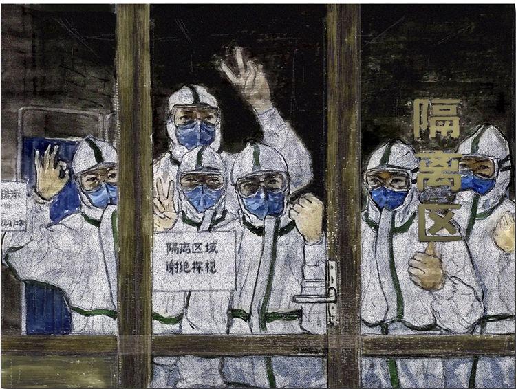 《生命的守護》趙慶峰  漆畫稿