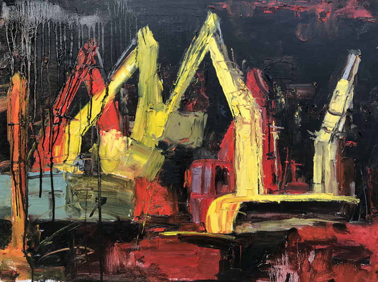 《火神山》蘇波 油畫