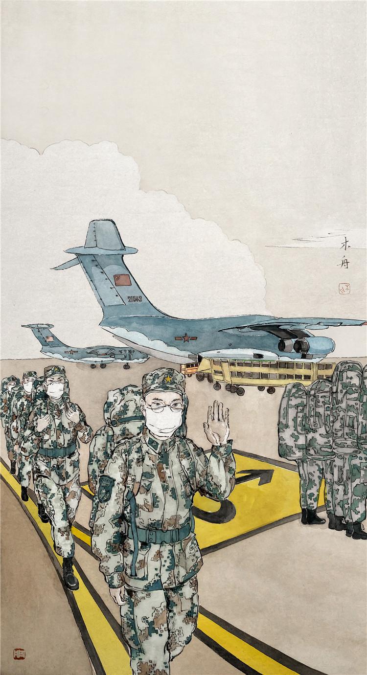 《空降奇兵》  周凡(又名:周木舟) 中國畫