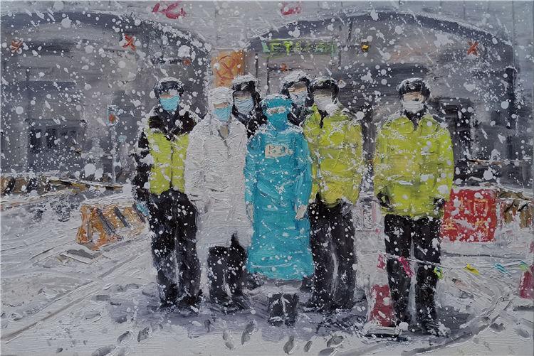 《風雪中的堅守》厲國軍 油畫