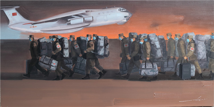 《逆行——公元2020除夕·夜》  尹西陵  油畫
