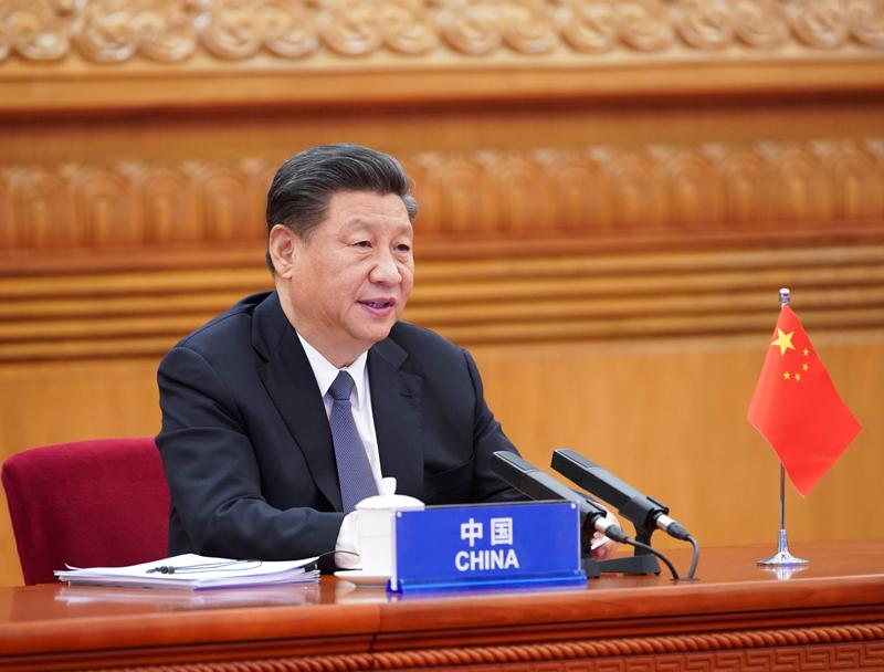 3月26日,国家主席习近平在北京出席二十国集团领导人应对新冠肺炎特别峰会并发表题为《携手抗疫 共克时艰》的重要讲话。