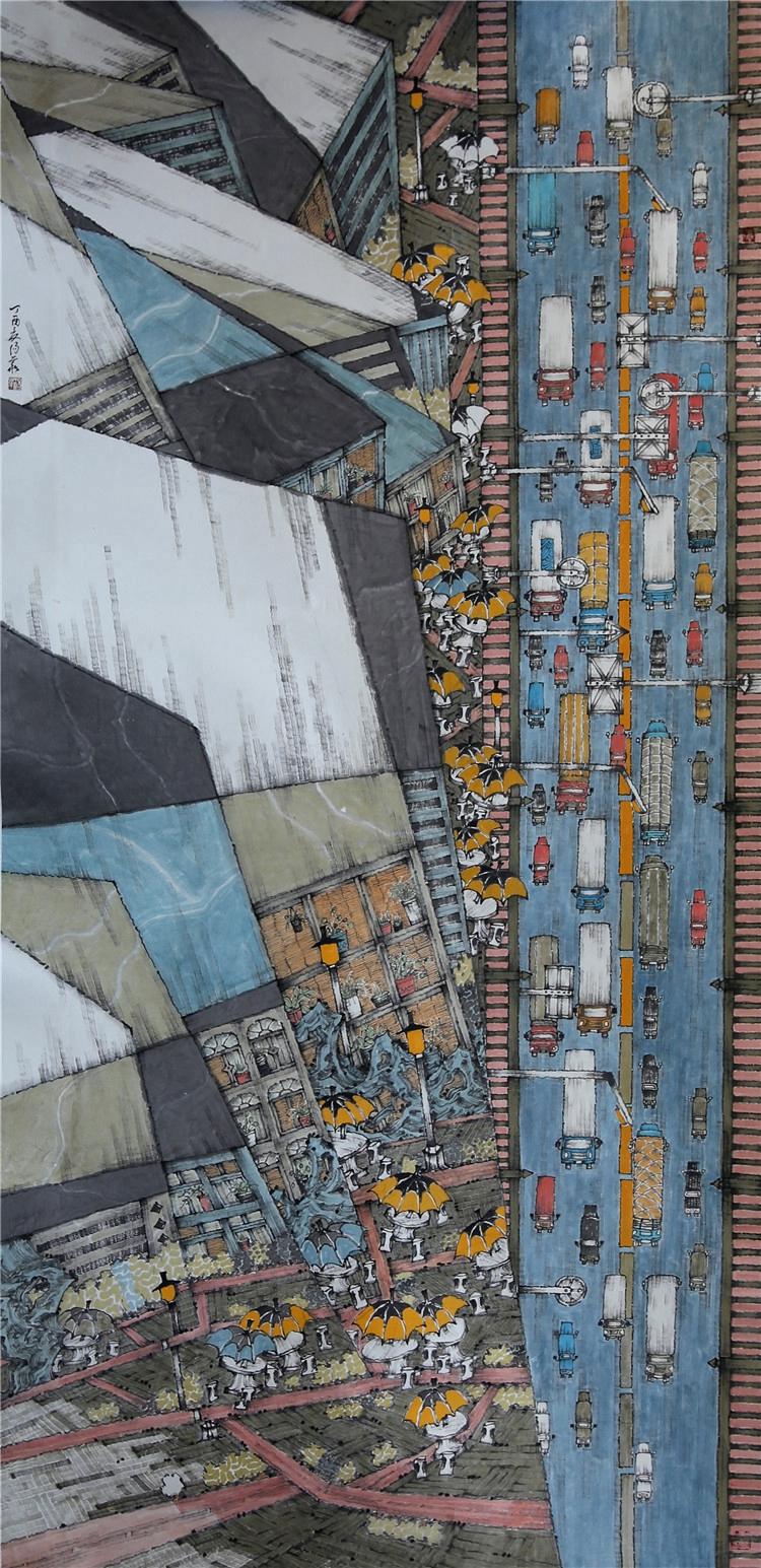 《馳援武漢——大國速度》  湯華  中國畫