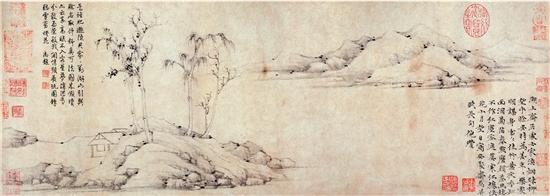 元 倪瓚 《安處齋圖》卷 紙本 台北故宮博物院