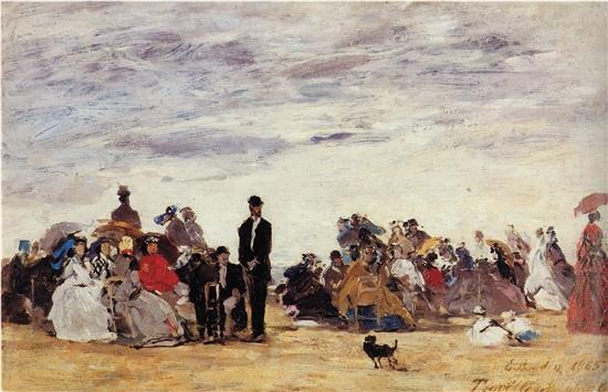 歐仁·布丹 特魯維爾的海灘 布面油畫 1865年 巴黎奧賽博物館
