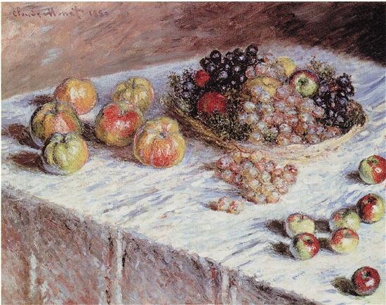 克勞德·莫奈 蘋果和葡萄靜物圖 布面油畫 1880年 芝加哥藝術學院