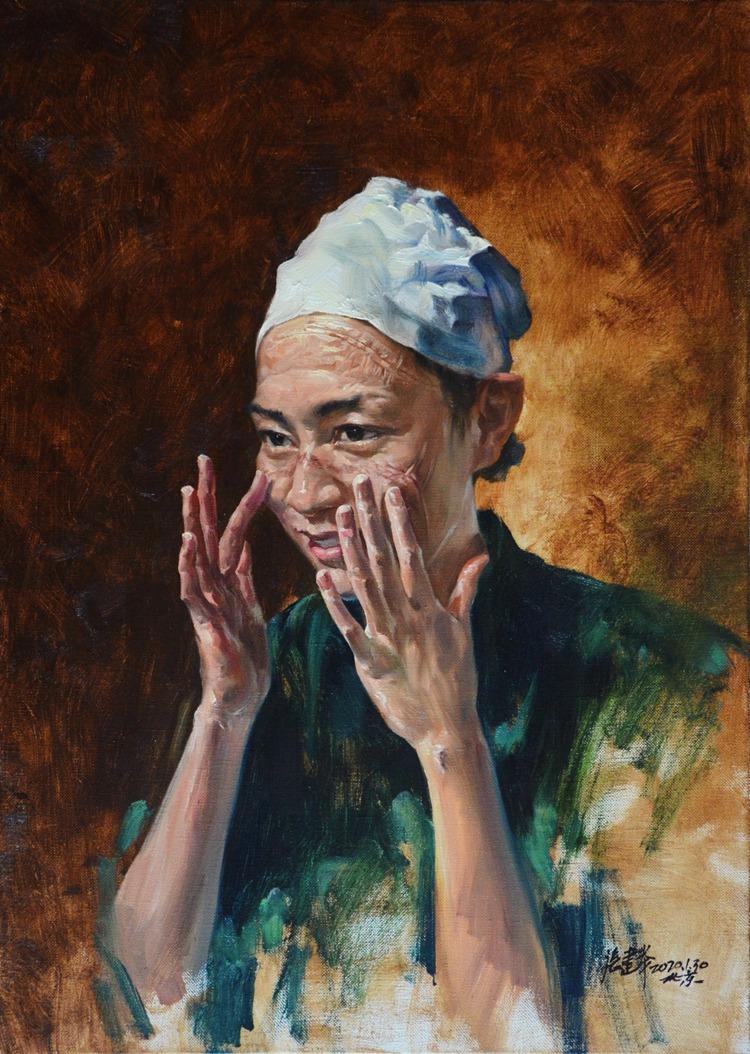 《用微笑守护人民的健康》 张建举 油画