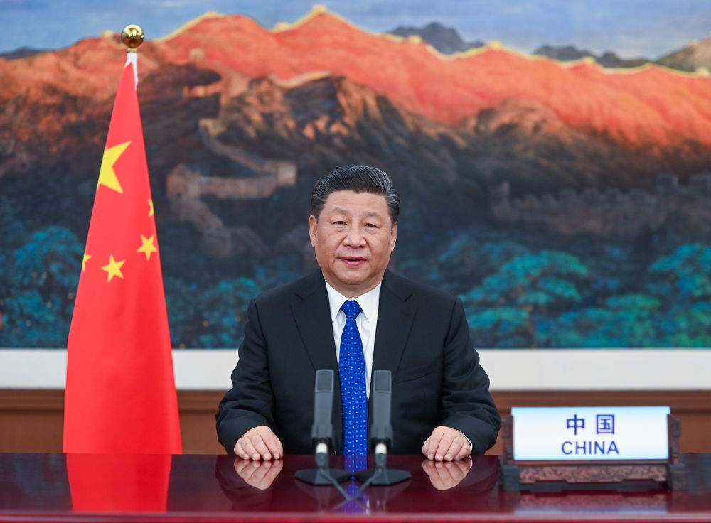 5月18日,国家主席习近平在第73届世界卫生大会视频会议开幕式上发表题为《团结合作战胜疫情 共同构建人类卫生健康共同体》的致辞。新华社记者 李学仁 摄
